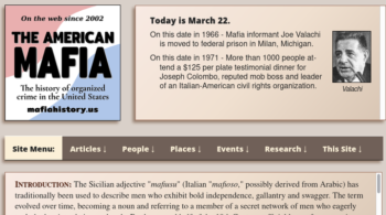 American Mafia history website home page with new menu bar