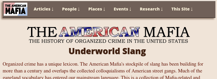 American Mafia history website article page with new menu bar