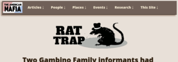 American Mafia history website Rat Trap article page with new menu bar
